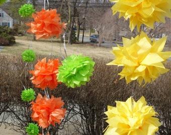 4 Dozen (48) Small Citrus CONNECTING PuffScape Garland DIY Tissue Paper Pom Pom Flower Puff Grove Lemon Lime Orange Florida Tropical Wedding