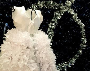 2ft BRIDAL DRESS REPLICA PuffScape Centerpiece - Tissue Paper Flower Pom Pom Puffs Bridal Fairy Tale Princess Wedding Quinceanera Sweet 16