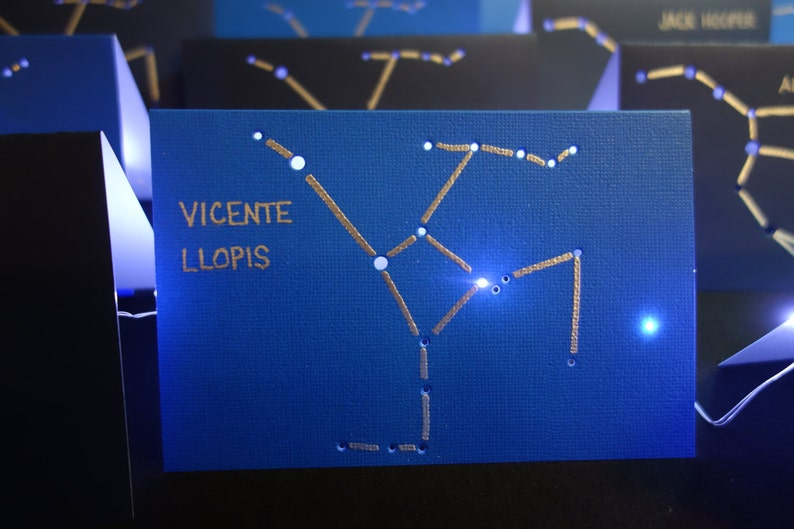 CONSTELLATION PLACE CARDS Hand Embossed Lines & Shadows Zodiac image 0