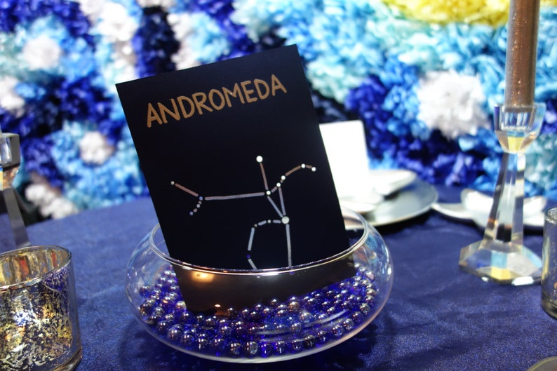 CONSTELLATION TABLE NUMBERS Hand Embossed Lines & Shadows image 0