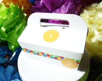 """Dozen (12) Gable Cake Box Paper Food Grade Favor w/ Handle Decorated: """"Come Along and Play With Me"""" & """"1"""" - Events Handmade by DORANA"""