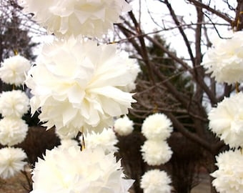 """FOUR (4) Ivory & Gold Medium 12"""" Sample Pack PuffScape CONNECTING DIY Tissue Paper Flower Pom Pom Puffs Wired Wedding Graduation Birthday"""