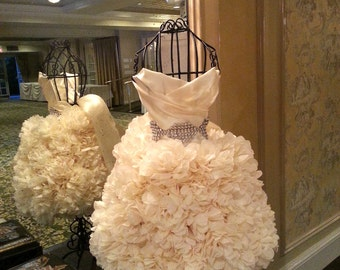 2ft PUFFSCAPE Wedding Gown Replica PuffScape Centerpiece - Tissue Paper Flower Pom Puff Bridal Fairy Princess Quinceanera Sweet 16