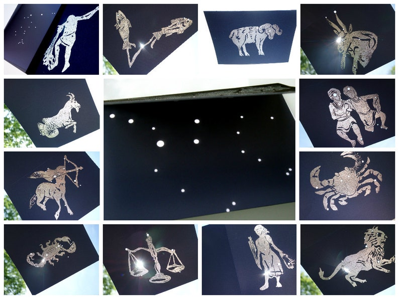 CONSTELLATION PLACE CARDS Signs of the Zodiac Starry Night image 0