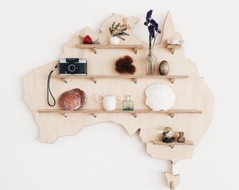 Australian Map Wall Shelves - Australia Shelf Wall Decoration - Wooden Floating Shelves - Shadow Box Shelf - Kids Room Decoration