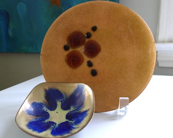 Pair of Mid Century Modern Enameled Dishes, by E. Krage, Norway and Anne Marie Davidson