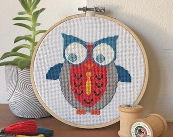 Boy Owl with Neck Tie Cross Stitch Kit