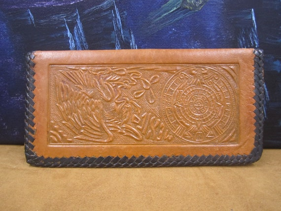 70's  Mayan tooled cognac colour tooled leather wa
