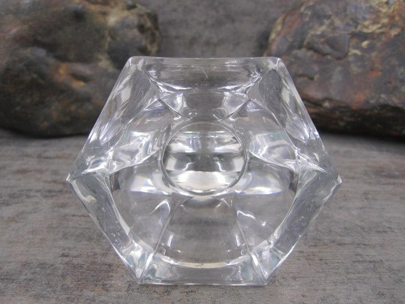 Cut glass cylindrical U shape glass candle  holder