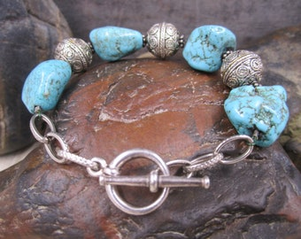 Dyed chunky turquoise and Bali Sterling silver toggle braceleta
