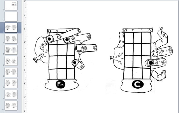 pdf uke coloring book  16 basic ukulele chords monster hand