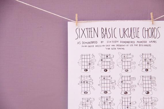 Pdf Sixteen Basic Ukulele Chords Chart 85 X 11 Etsy