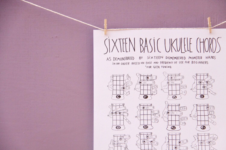 Pdf Sixteen Basic Ukulele Chords Chart 8 5 X 11 Etsy