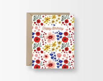 Floral Birthday Card, Spring Flowers Pattern Birthday Card, Happy Birthday, Birthday Gift, Birthday Card, Illustration Pattern Card