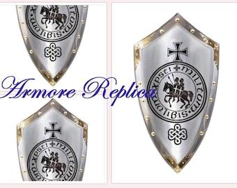 "36""Medieval Knight Armor Steel Shield Battle Reenactment Armor Medieval Gift Item"