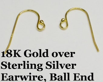 18k Gold over Sterling Silver Earring Wire, Ball End, 21 Gauge, 1 Pair, Vermeil