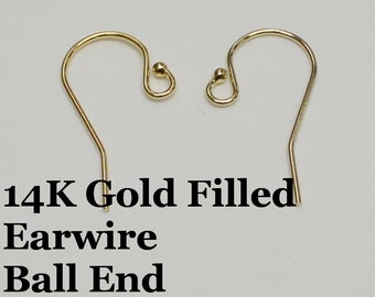 14k Gold Filled Earring Wire with Ball End, 21 Gauge, 1 Pair, USA