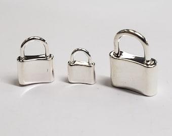 New Designer Enamel Padlock 14k Gold Vermeil Padlock Charms Black Enamel Padlock 925 Silver Padlock CZ Enamel Padlock Jewelry,