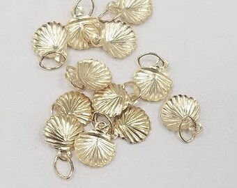 14k Gold Filled Charm Clam Shell, 8mm, Baby Charm, 2 piece