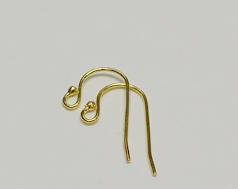 18k Gold over Sterling Silver Earring Wire, Ball End, 21 Gauge, 1 Pair, Bulk Savings Available!!