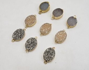 Double Bail Druzy Heart Connector Heart Druzy Connector Man-made Faux Druzy Drusy in Gold Setting NecklaceBracelet Supplies 3510pieces