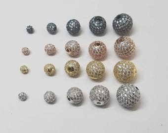 1 Piece - Round Micro CZ Pave Beads, 5mm, 6mm, 8mm, 10mm, 12mm, Gunmetal, Silver, Gold, Rose Gold