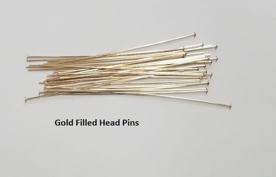 100 Pieces 14Kt Gold Filled Head Pins 26 Gauge 1 inch