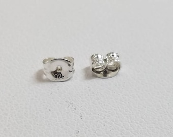 Sterling Silver Earnut Backings, 20 Pieces, Made in the USA,  4.5mm x 5.5mm, Bulk Savings Available!!