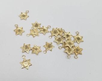 2 - 14k Gold Filled Charm, Star of David, 9mm, USA, Lightweight