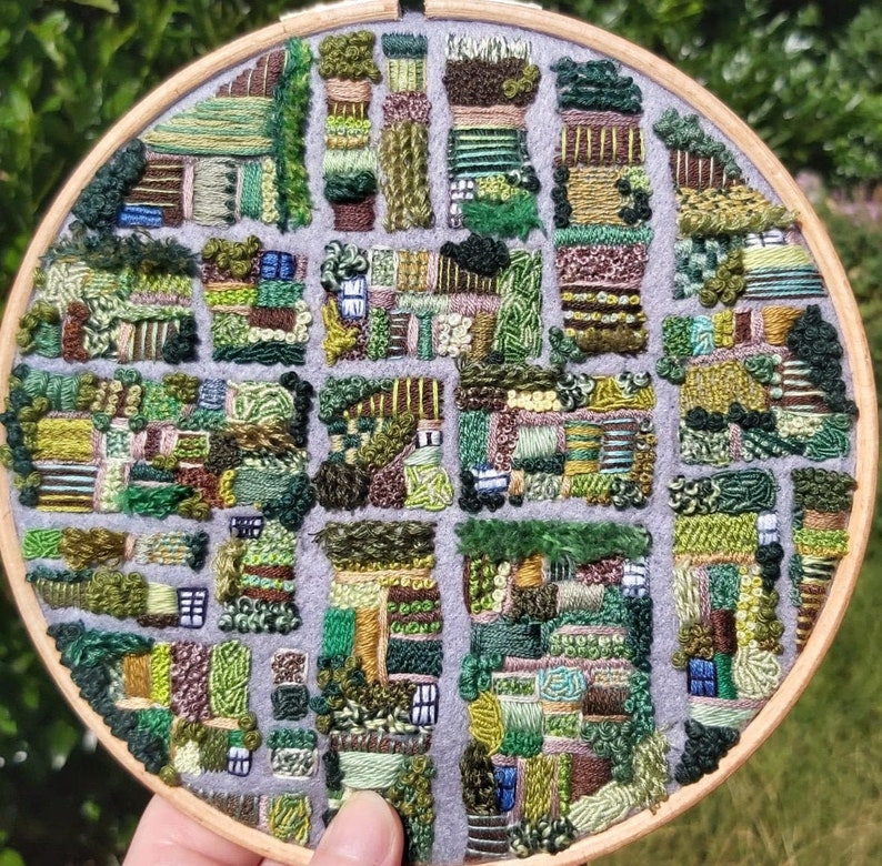Allotment A Bird's Eye View PDF Embroidery Pattern. image 0