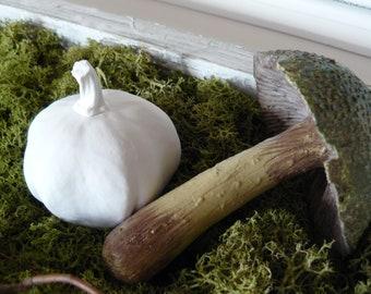 Pumpkin White (Matte) Decoration Autumn Gift Shabby Vintage Country Style Paint Paint Crafts