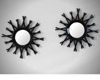 Sunburst Rustic Sliver Wall Mirror Set Of Two, Round Wall Mirror, Decorative Wall Mirror, Small Wall Mirror