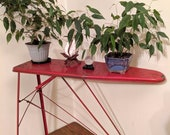 Vintage Child 39 s Red Metal Folding Ironing Board Plant Stand Cute Shabby Decor Accent