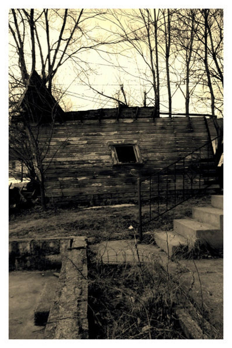 Small Print Of Abandoned Carriage House Barn Garage Building In Decay By Tree Pruitt 5 X 7 Inch Black And White Vintage Shabby Urban Style
