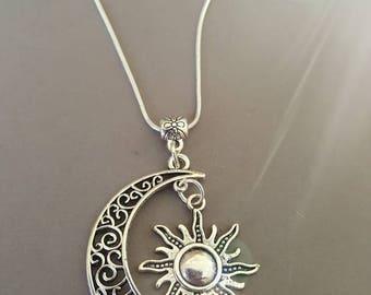 Handmade Celestial moon and Sun necklace
