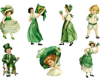 7 St. Patrick's Day Cliparts, Watercolor St. Patrick's Day Vntage Clipart, Vintage Print, Irish Clipart, Printable Art, Instant Download