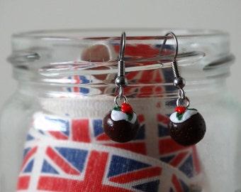 By the Shed Christmas Pudding DROP Earrings - Dangle, Hanging Hook - Festive, Christmas, Seasonal, Novelty, Xmas Pud, Screw back, Clip On