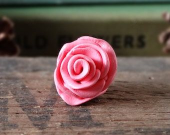 By the Shed - Pink Rose Pin Badge - Flowers - Garden - Gardening - Gift - Unique Present - Rose Garden - Jewellery Floral - Brooch, Tie Pin