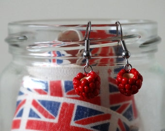 By the Shed Raspberry DROP Earrings - Dangle, Hanging Hook - Red - Fruit, Vegetables, Berries, Vegetarian, Gardener - Screw Back, Clip On