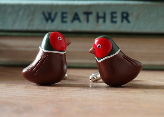 Rhodium Plated Pheasant Bird Cufflinks