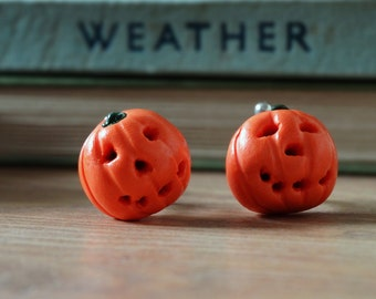 By the Shed Pumpkin Orange Vegetable Cufflinks - Rhodium Plated - Allotment - Vegetarian - Gardening - Vegetable - Fruit - Halloween - Fun