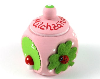 Tooth tin, milk tooth tin, tooth box-with name and ladybug, fly fungus, milk teeth