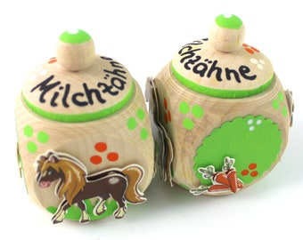 Tooth tin, milk tooth tin, tooth box-with name and horse, bangs, milk teeth
