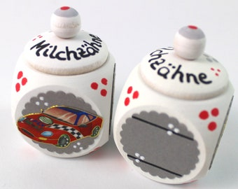 Tooth tin, milk tooth tin, tooth box-with names and cars, milk teeth