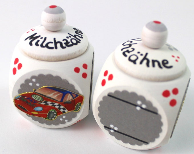 Dental can milk tooth can with name and racing car
