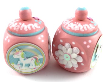 Tooth box, tooth tin, milk tooth tin-with name and unicorn