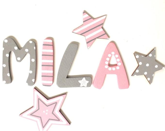 Wooden letters children's room door girl stars