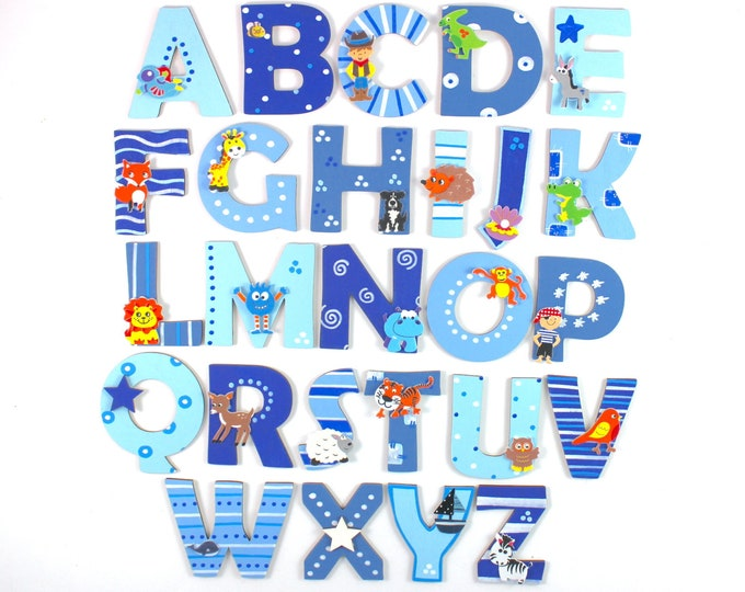 Wooden letters with matching animals
