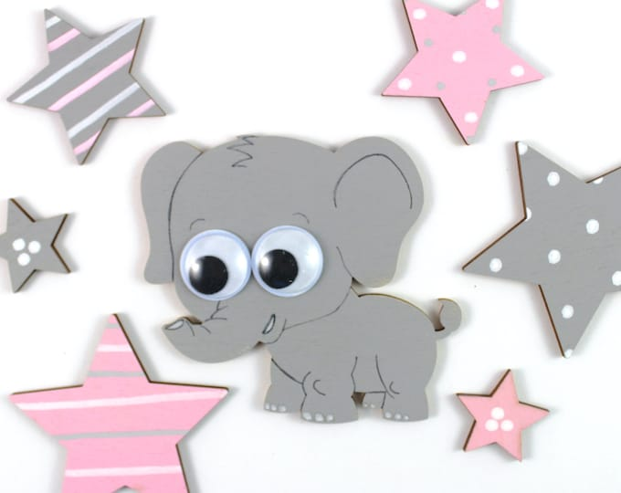 Elephant and stars made of wood