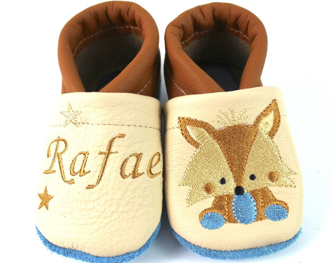 Crawling shoes with the name Krabbelpuschen Fuchs